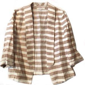 Ann Taylor LOFT tan ivory stripe blazer EUC size 4